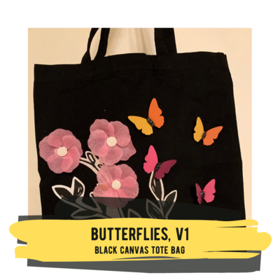 Butterflies V1 - Black Canvas Tote Bag