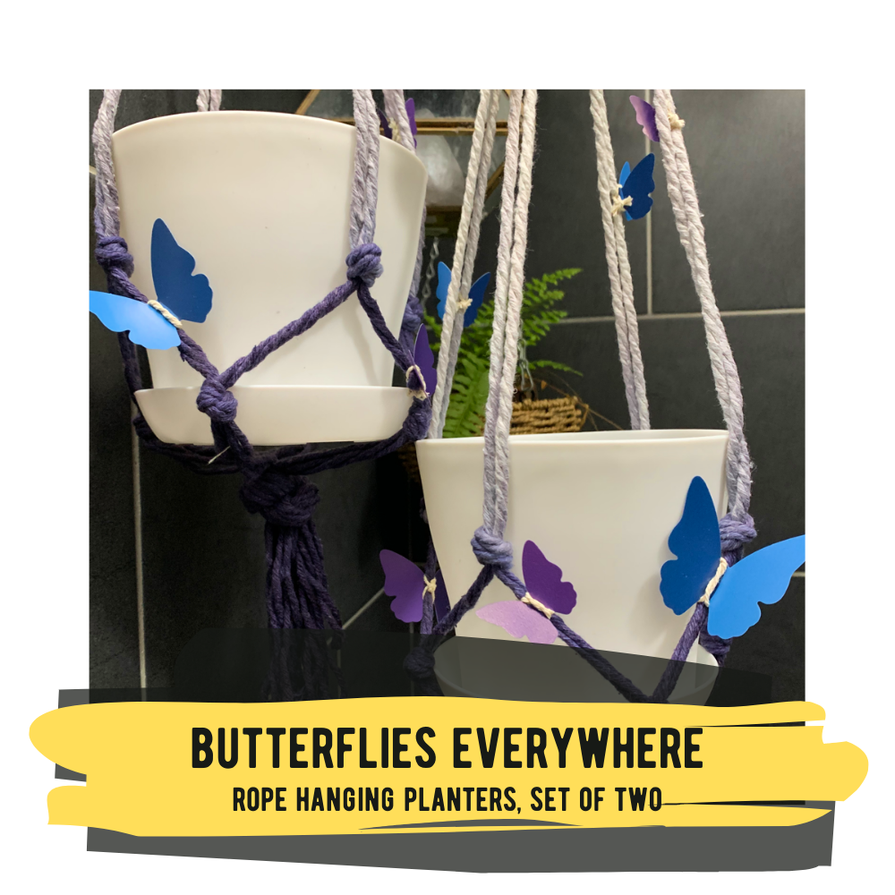 Butterfly Everywhere, Hanging Planters with Pot and Tray - Set of 2