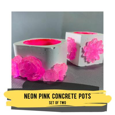 Set of Two Neon Pink Concrete Pots