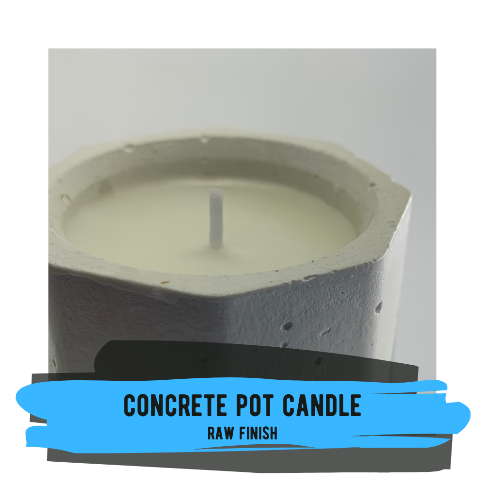 Concrete Pot Candle - Raw Concrete Finish