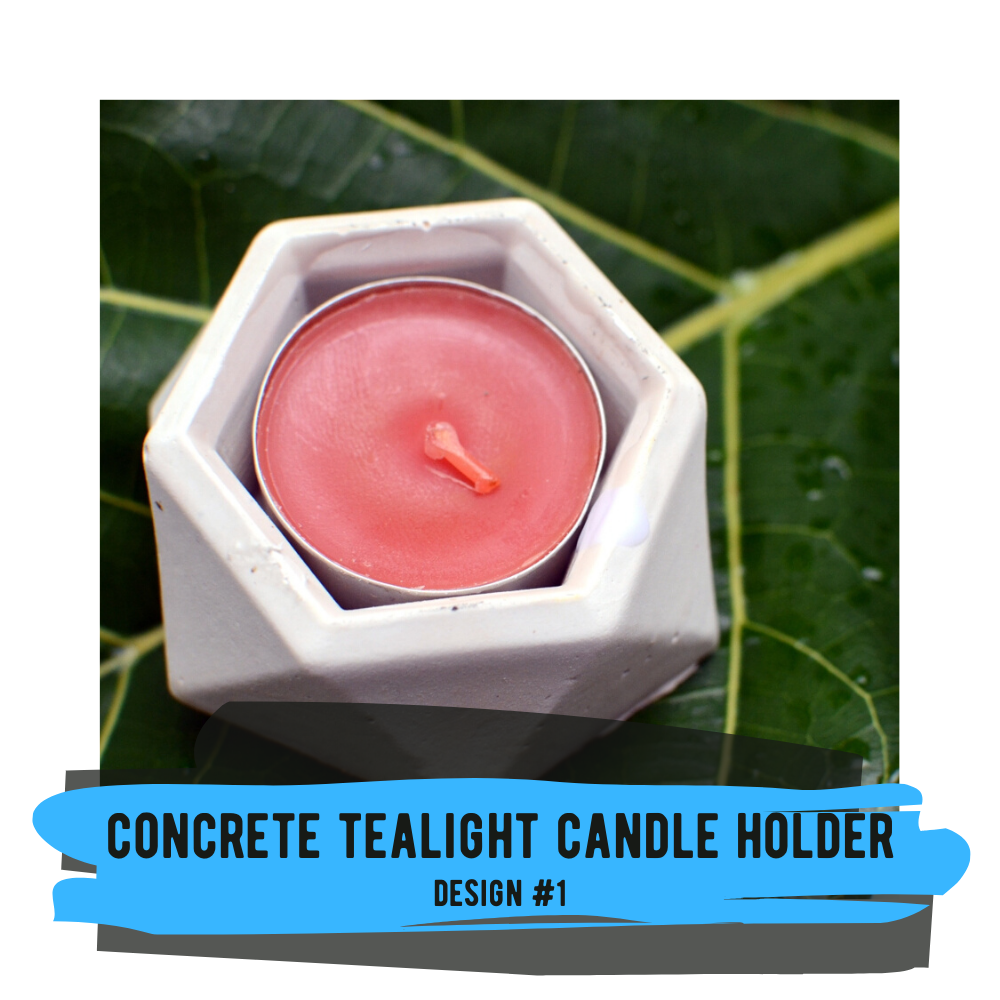 Tealight Candle Holder (Design #1) with Raw Concrete Finish