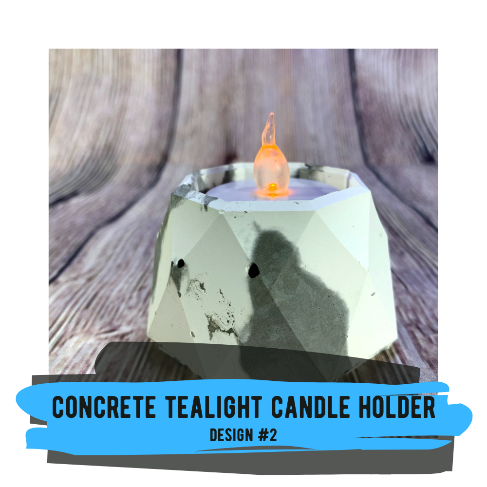Tealight Candle Holder (Design #2) with Raw Concrete Finish