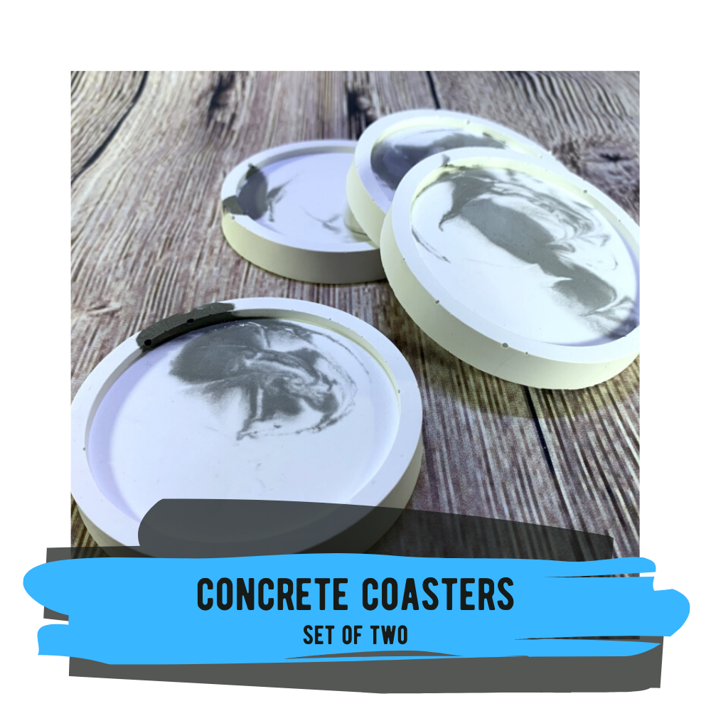 Concrete Marbled Coasters, Set of 2