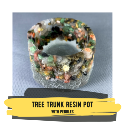 Tree Trunk Resin Pot with Pebbles