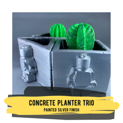 Concrete Planter Trio in Painted Silver Finish