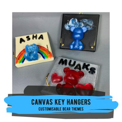 Canvas Key Hangers - Customisable Bear Theme