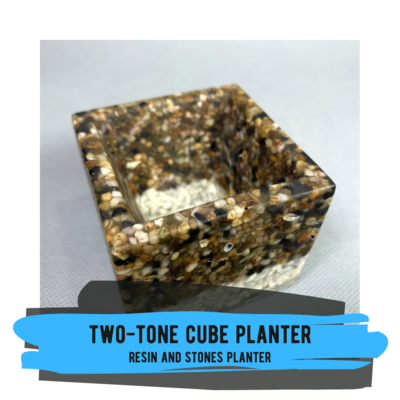 Resin Cube Planter with Stones
