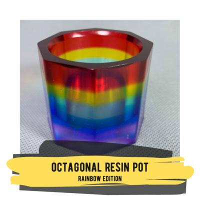 Octagonal Resin Pot - Rainbow Edition