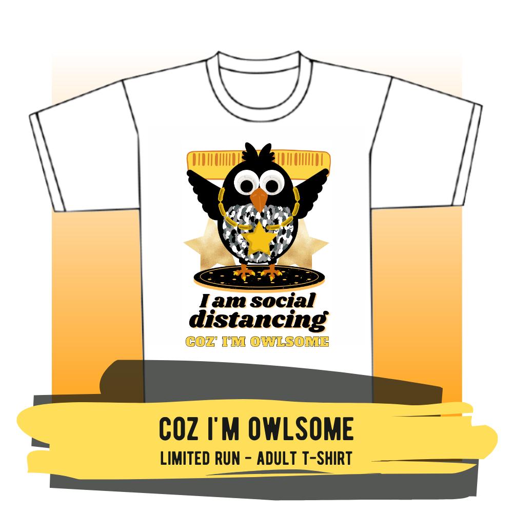 "Adult T-shirt - ""Coz I'm Owlsome"""