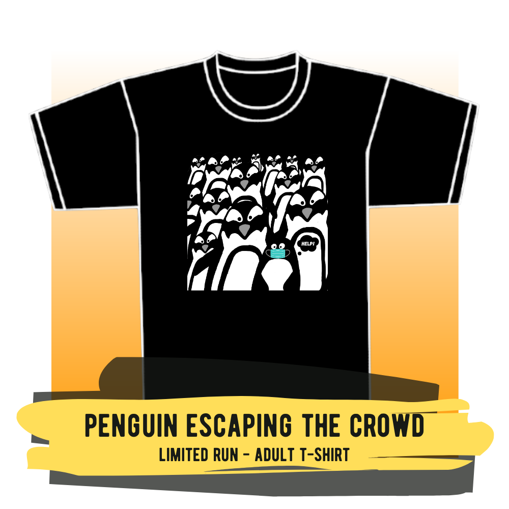 "Adult T-shirt - ""Penguin Escaping The Crowd"""