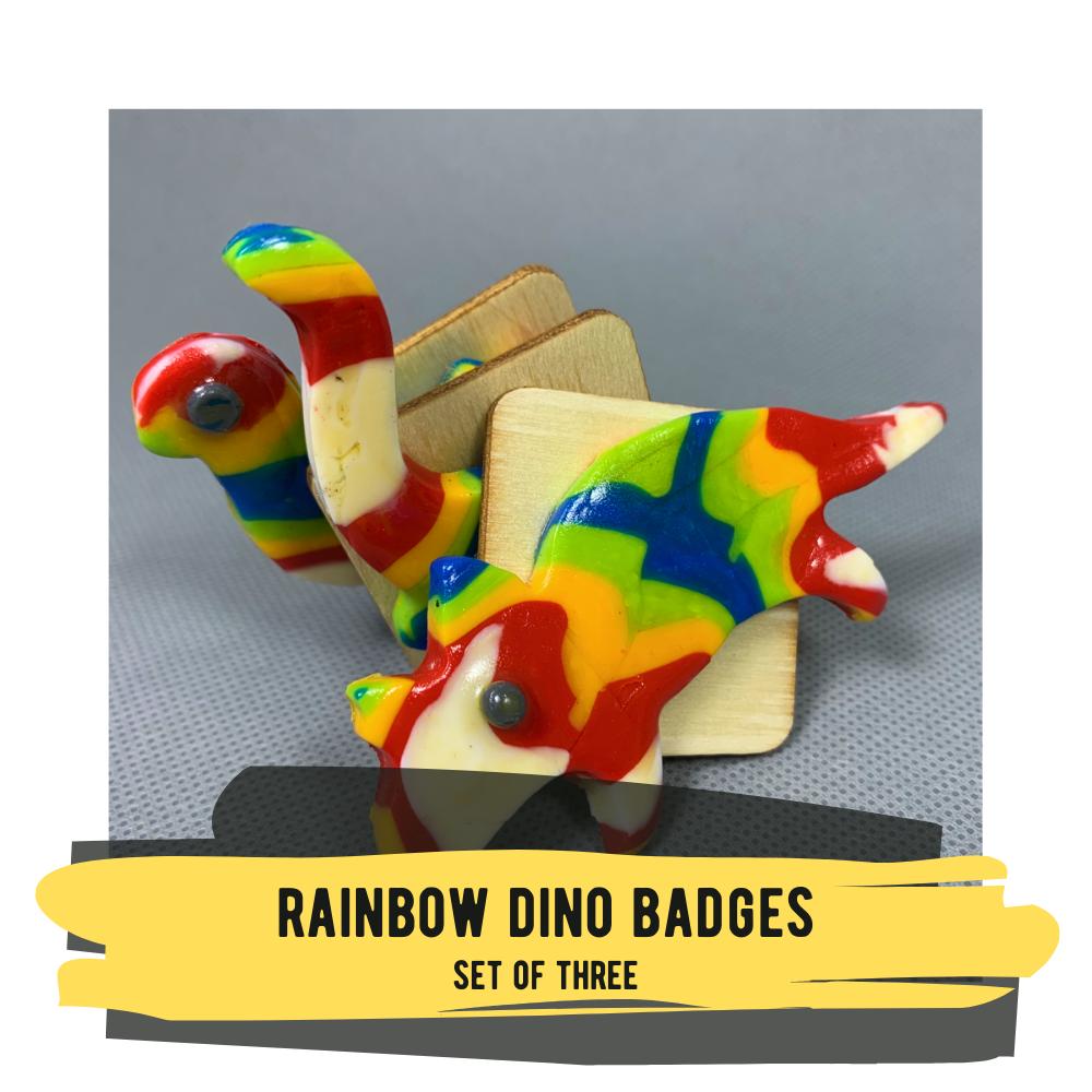 Rainbow Dino Badges, Set of Three