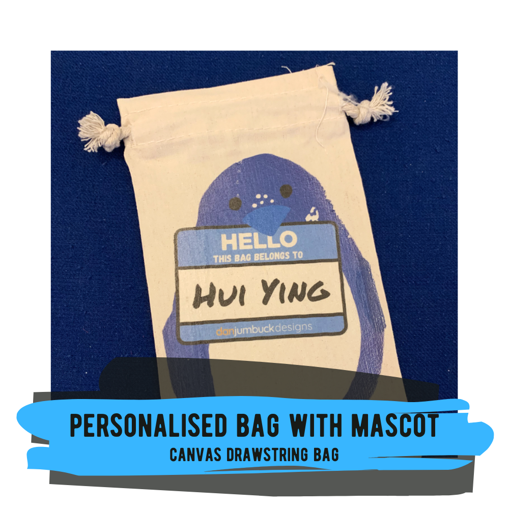 Personalised Bag with Mascot (3 Options) - Canvas Drawstring Bag