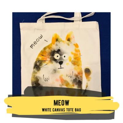 Meow - White Canvas Tote Bag
