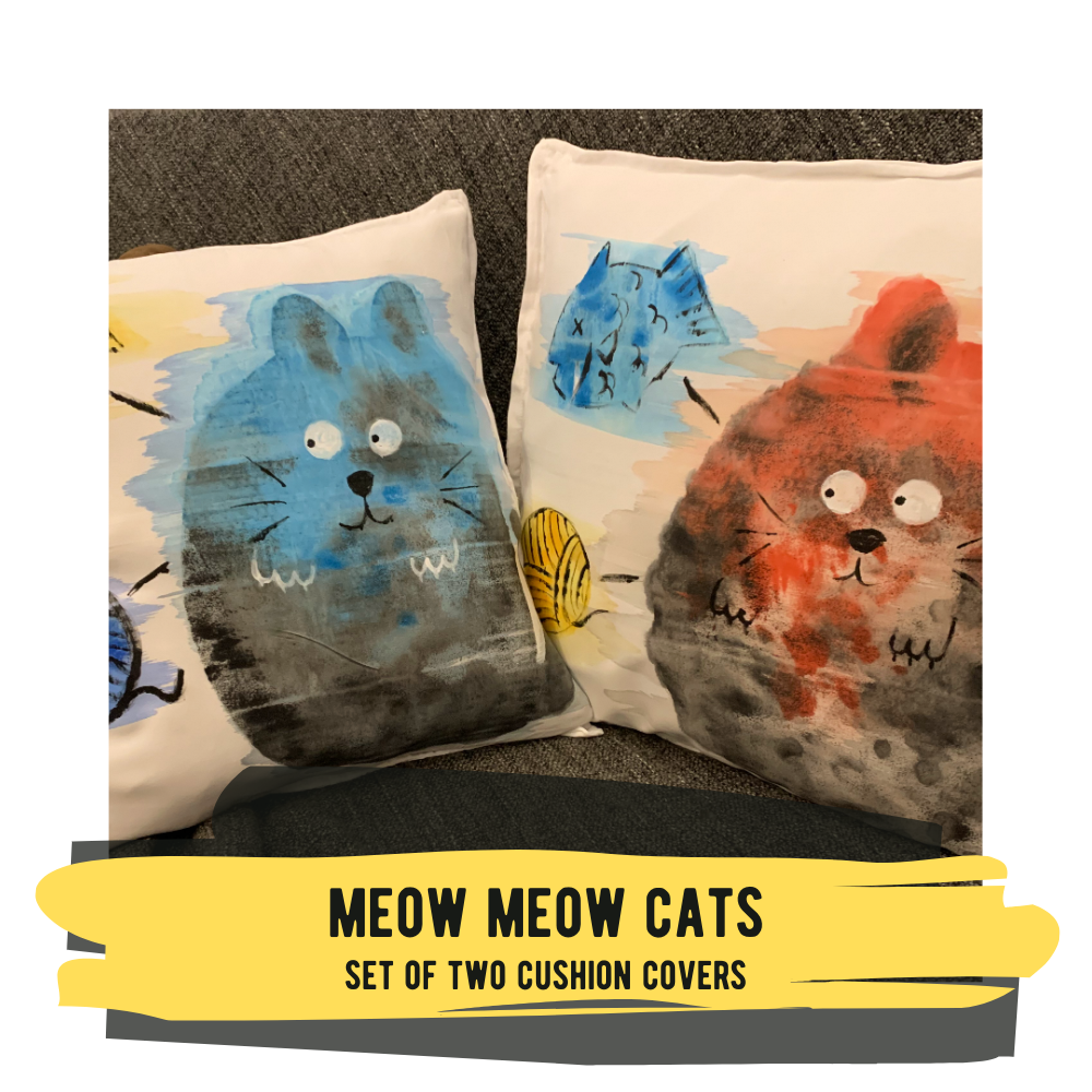 Meow Meow Cat - Set of Two Cushion Covers