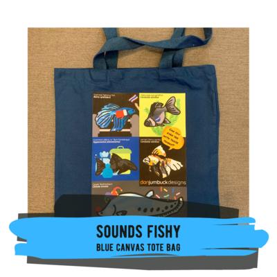 Sounds Fishy - Blue Canvas Tote Bag