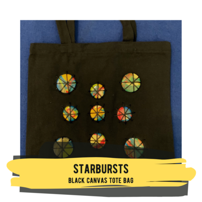 Starbursts - Black Canvas Tote Bag