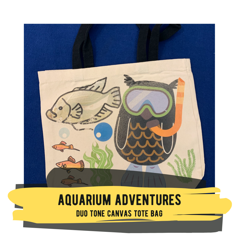 Aquarium Adventures - Duo Tone Canvas Tote Bag