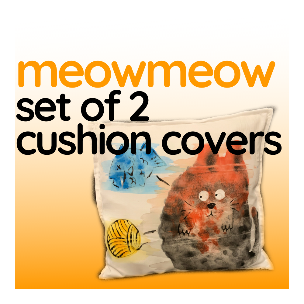 Meow Meow - Set of Two Cushion Covers