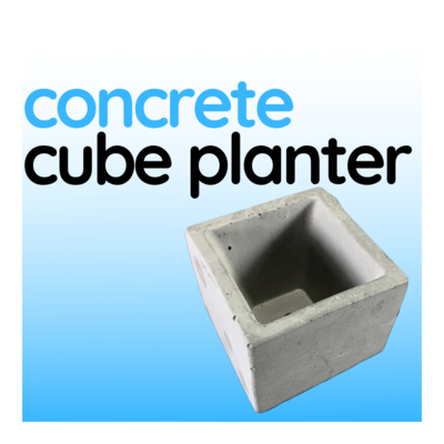 Concrete Cube Planter with Raw Finish