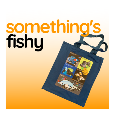 Sounds Fishy - Blue Canvas Tote Bag