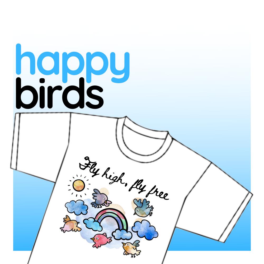 "T-shirt - ""Happy Birds"""
