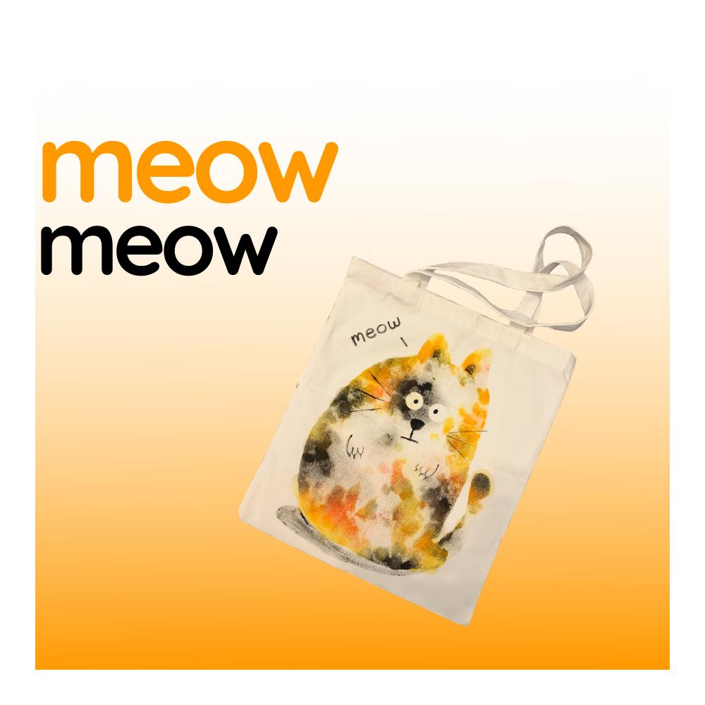 Meow Meow - White Canvas Tote Bag