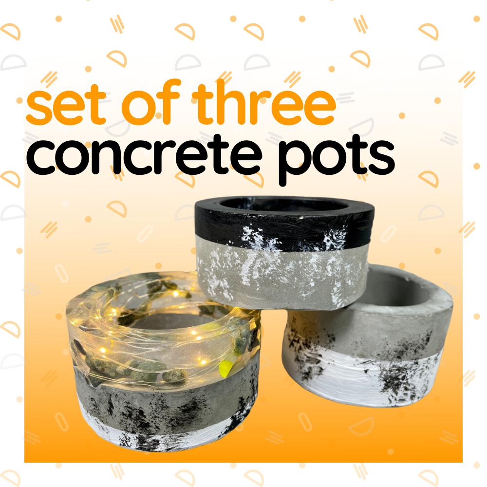 Set of Three Concrete Pots