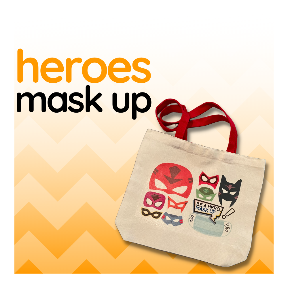 Heroes Mask Up - Duo Tone Canvas Tote Bag