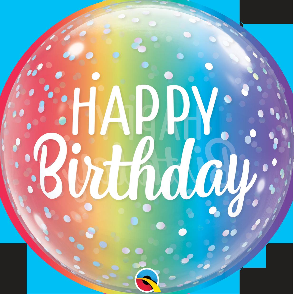 """Globo Happy Birthday Burbuja colores con Helio 20"""""""