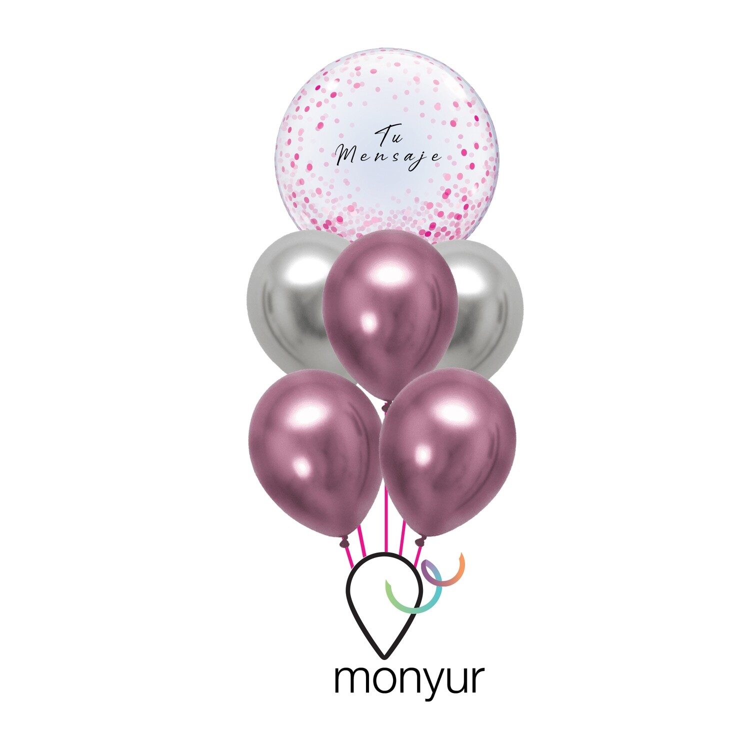 "Customized Bubble Balloon ""Pink Confetti Bouquet"""