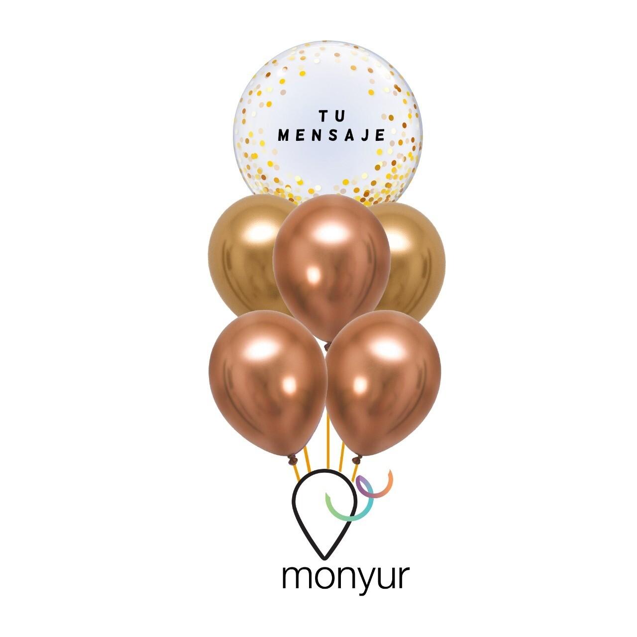 "Customized Bubble Balloon ""Gold Confetti Bouquet"""