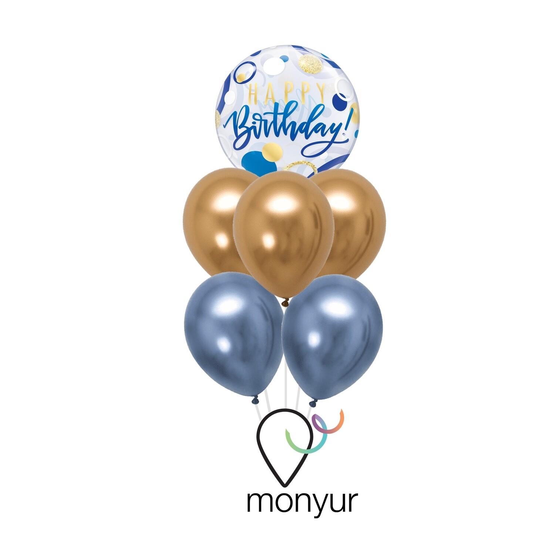 Blue & Gold Happy Birthday Bouquet de Globos
