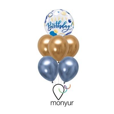 Blue & Gold Happy Birthday Balloon Bouquet