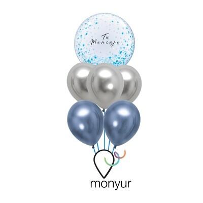 Customized Blue Confetti Bubble Balloon on bouquet