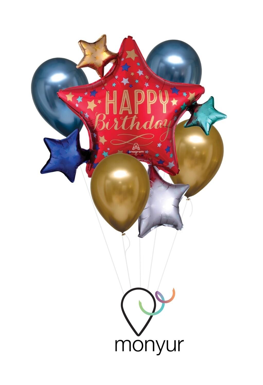 Bouquet Globo Stars Happy Birthday