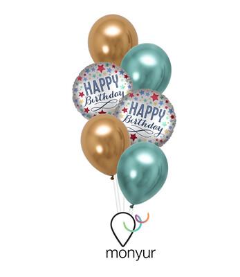 Silver Birthday Balloon Bouquet