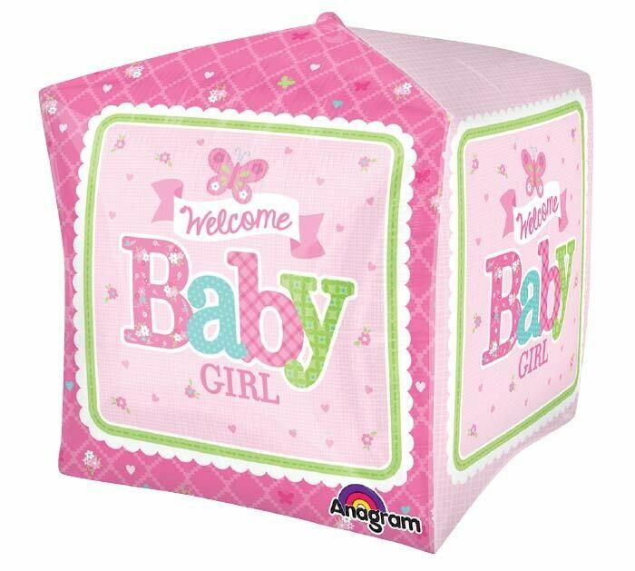 "Welcome Baby Butterfly Globo Cubo 15"" con Helio"