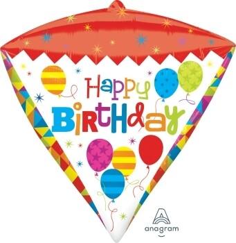 """Globo Diamante Happy Birthday 15"""" con Helio"""