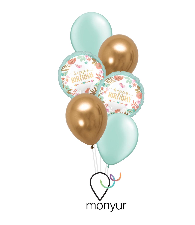 Boho Mint Birthday Bouquet de Globos