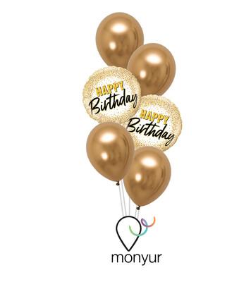 Gold Glitter Birthday Balloon Bouquet