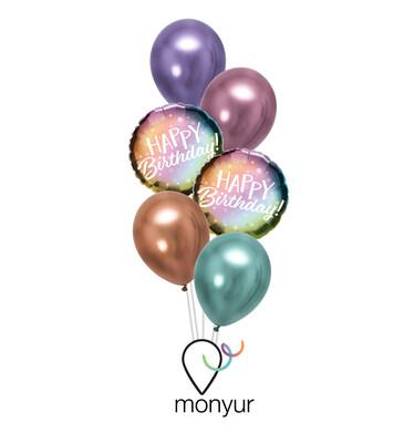 Metallic Ombre Birthday Balloon Bouquet