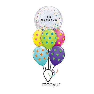 Customized Color Confetti Bubble Balloon Bouquet
