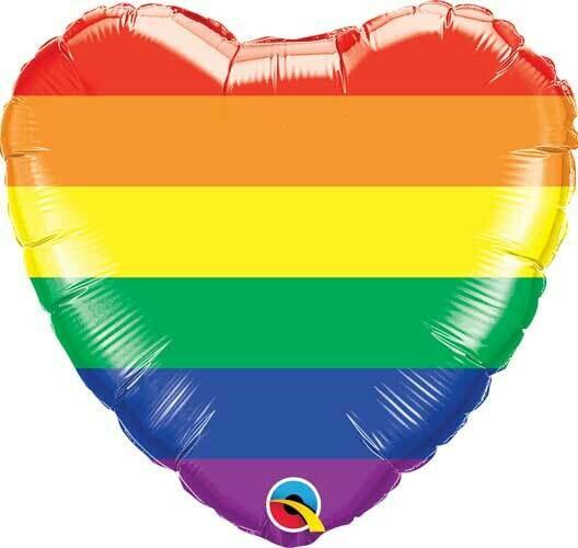Globo Rainbow Stripes Heart con helio