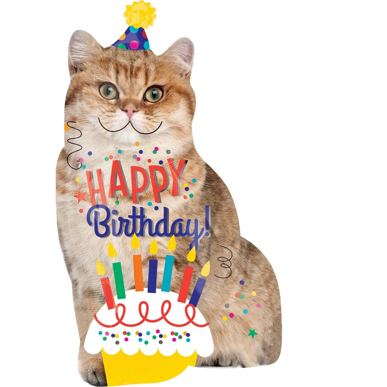 Globo Birthday Cat Jumbo con helio