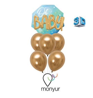 3D Oh Baby Boy Balloon Bouquet