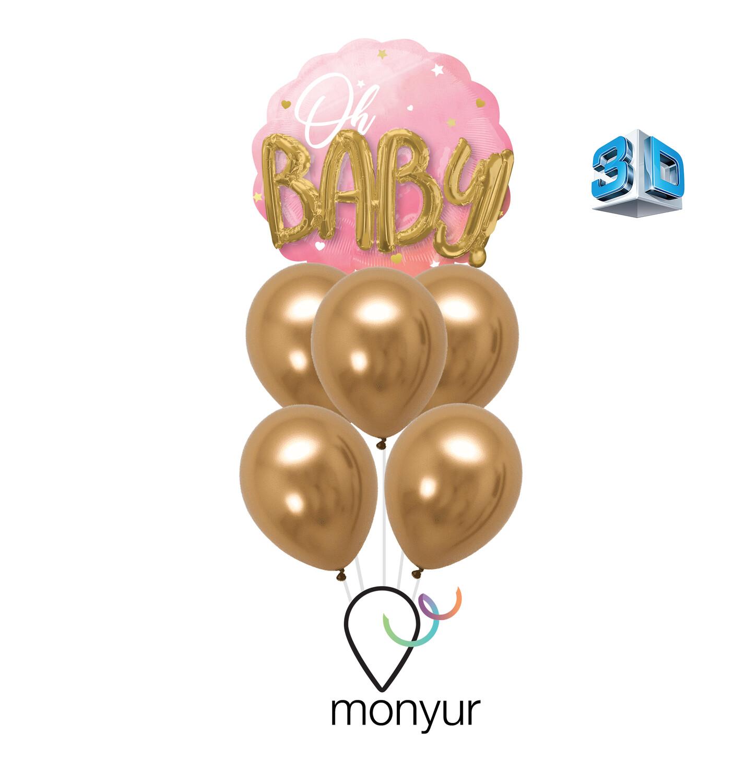 3D Oh Baby Girl Bouquet de Globos