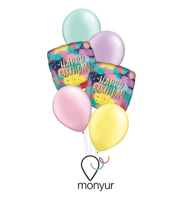 Painted Birthday Balloon Bouquet