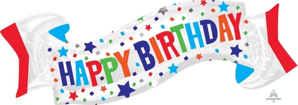 Foil Balloon Happy Birthday Banner
