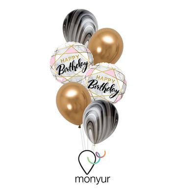 Marble Birthday Balloon Bouquet