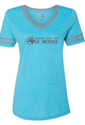 One Moose Women's Varsity Triblend V-neck T-shirt
